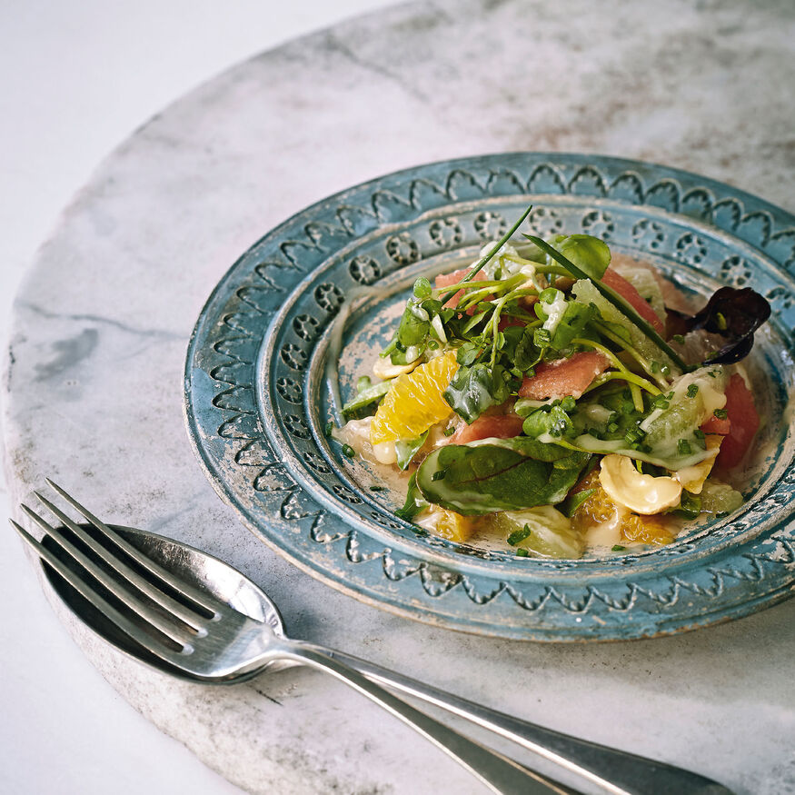 Citrus salad with white chocolate dressing, , hi-res