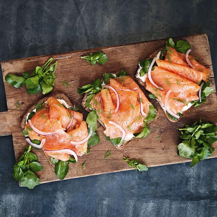 Smoked Salmon with white chocolate horseradish open sandwich, , hi-res