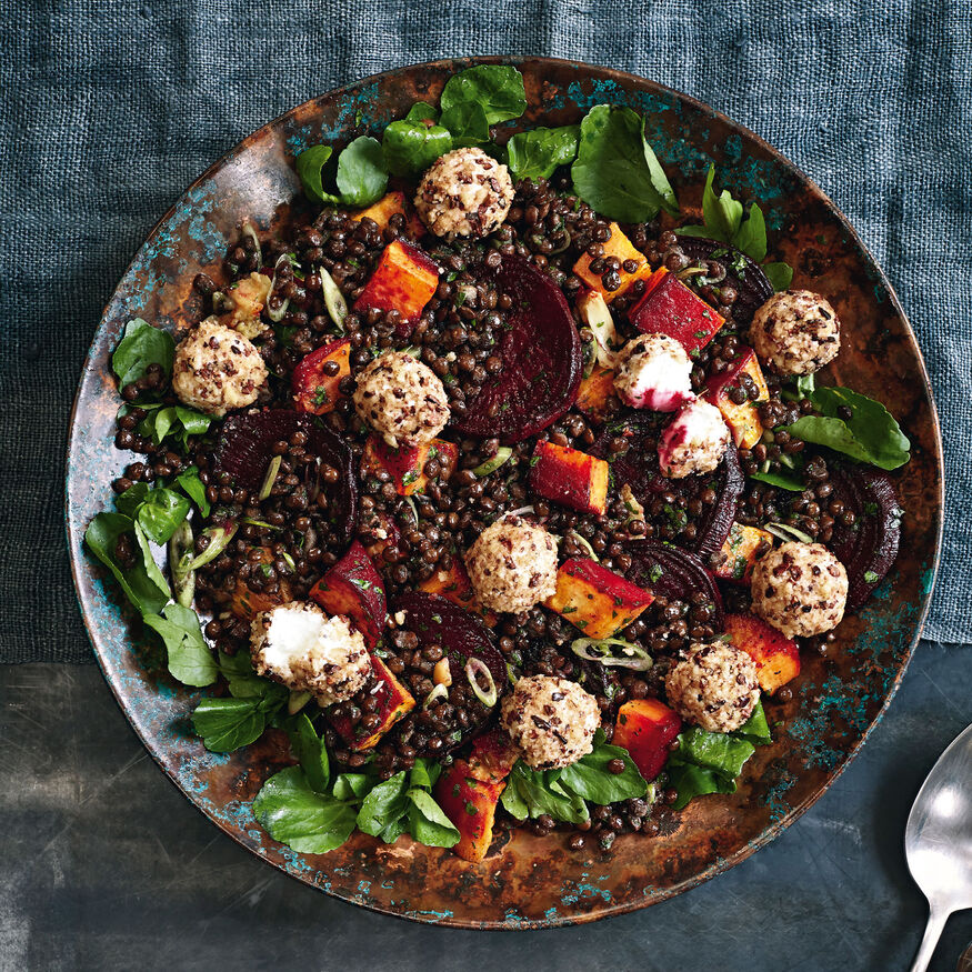 Roasted rainbow vegetable salad with puy lentils and goats cheese, , hi-res