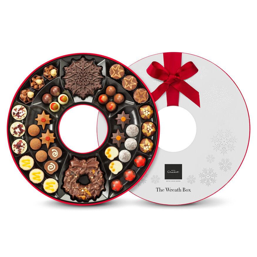 Chocolate christmas wreath by hotel chocolat the chocolate christmas wreath box hi res negle Gallery