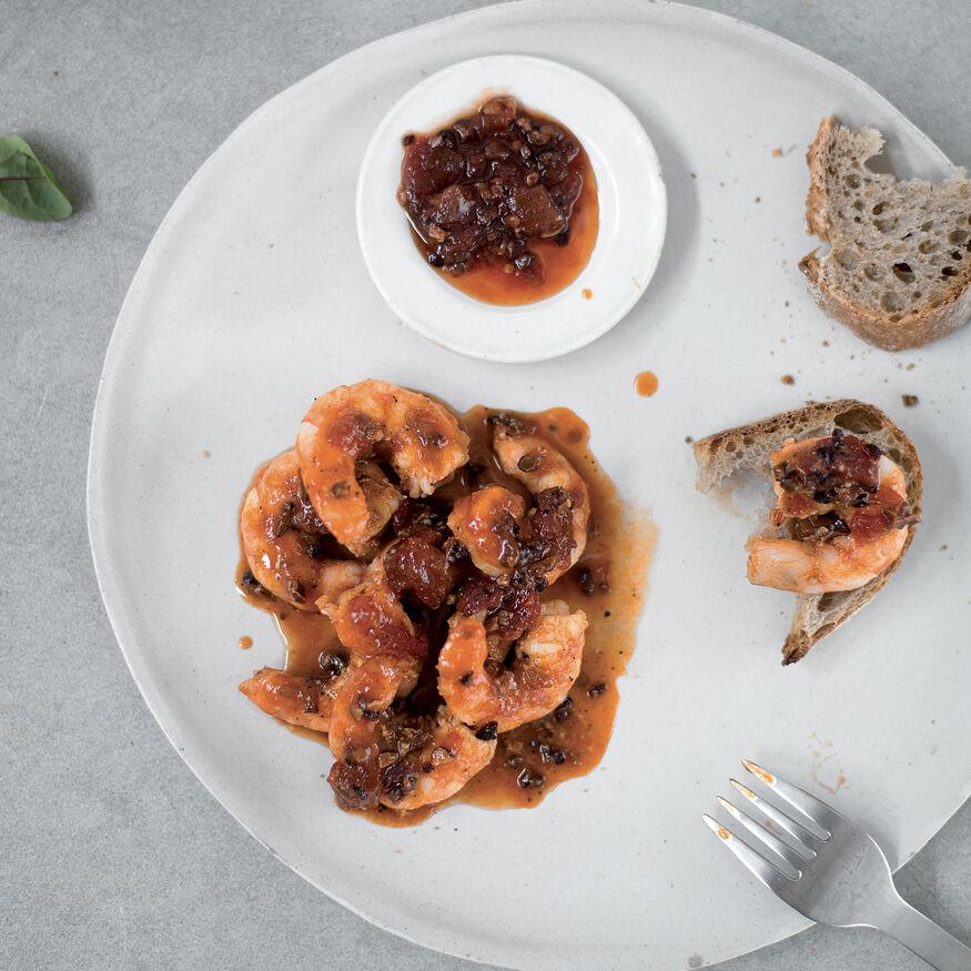 Glazed king prawns with chilli chutney, , hi-res