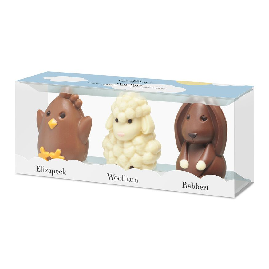 Easter Pen Pals - White, Caramel-Milk and 40% Milk Chocolate Animals, , hi-res