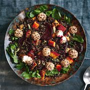 Roasted Rainbow Vegetable Salad with Puy Lentils and Goats' Cheese Recipe, , hi-res