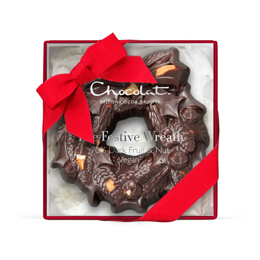 The Small Chocolate Festive Wreath - Dark Chocolate, , hi-res