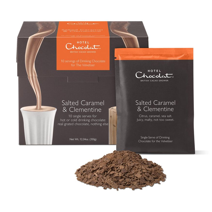 Salted Caramel & Clementine Hot Chocolate Sachets, , hi-res