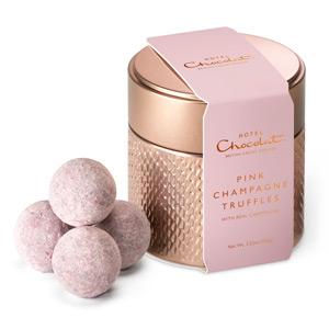 pink champagne truffle tin