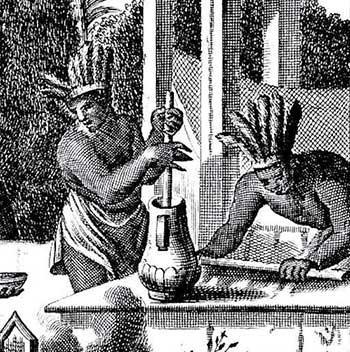Mayan's making hot drinking chocolate